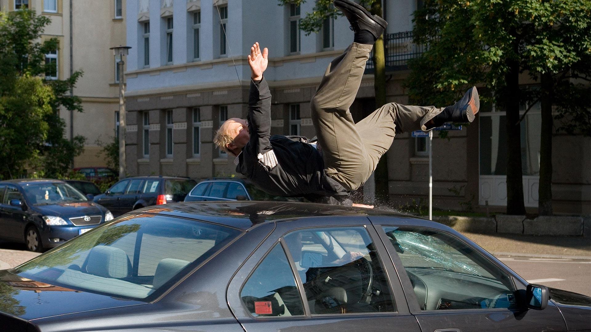 Fussgänger Frank Haberland Stunt Leipzig